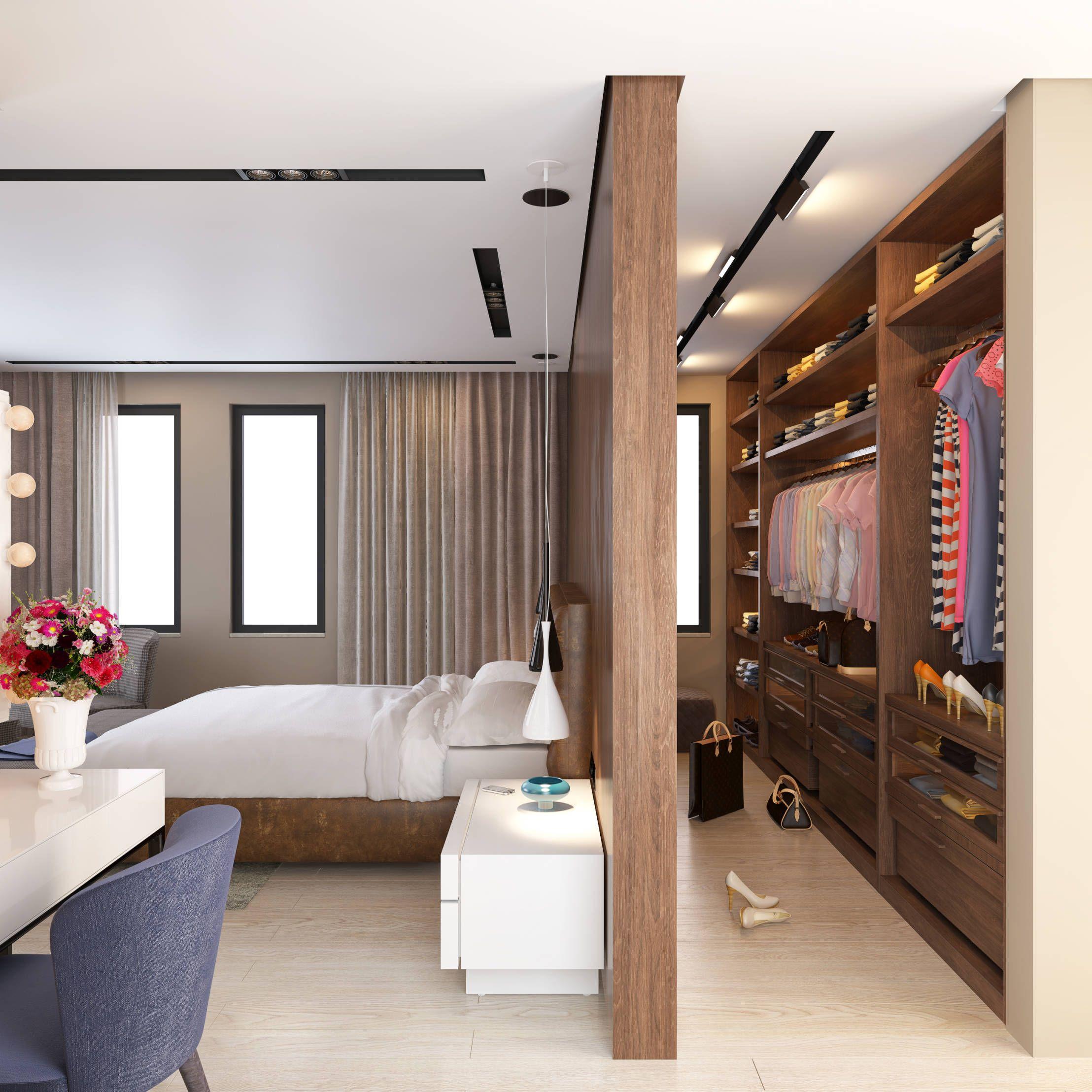 schlafzimmer mit begehbarem kleiderschrank ...