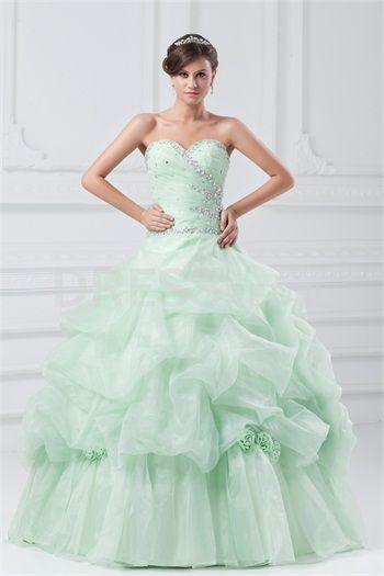 Sage Floor-Length Satin Sweetheart Quinceanera/ Prom Dress