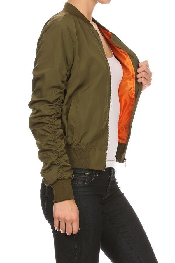 - Color: Shell - Olive Green / Lining - Orange - Bomber Jacket - Fully Lined - Ruched Long Sleeves w/ Rib Knit Trim - Zippered Sleeve Pocket / Side Waist Pockets - Materials: 100% Polyester - Model Me