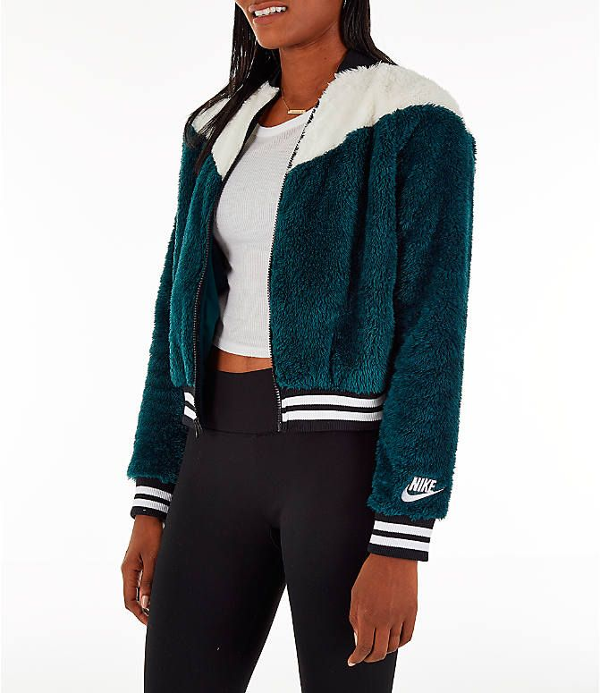 sports shoes 48709 6567e Front Three Quarter view of Women s Nike Sportswear Sherpa Wolf Bomber  Jacket