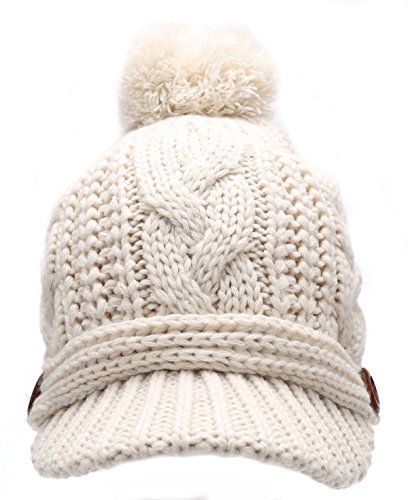 9f9bda83eaf Women s Thick Cable Knitted Skully Beanie Visor Cap Butto... https