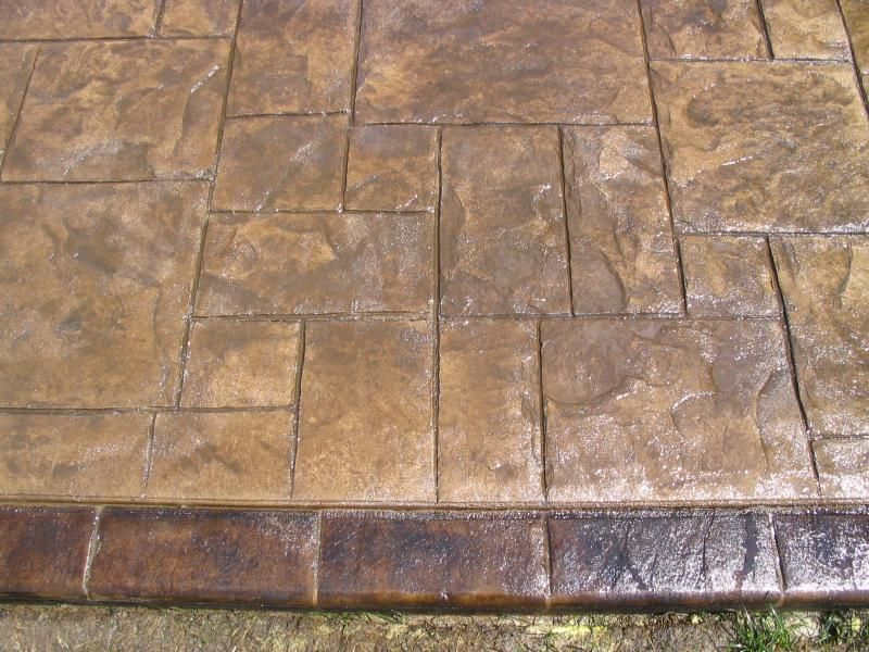 Grand Ashler Slate Stamped Concrete With Acid Staining On