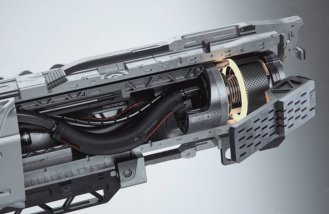 """2,024 gilla-markeringar, 24 kommentarer - Gavriil Klimov (@hexeract) på Instagram: """"I have spent a little more time on the cross section view from my EMP sniper rifle and changed few…"""""""