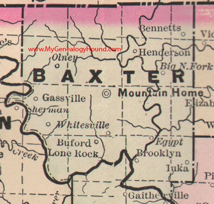 Baxter County Arkansas Map 1889 Mountain Home Gassville Olney