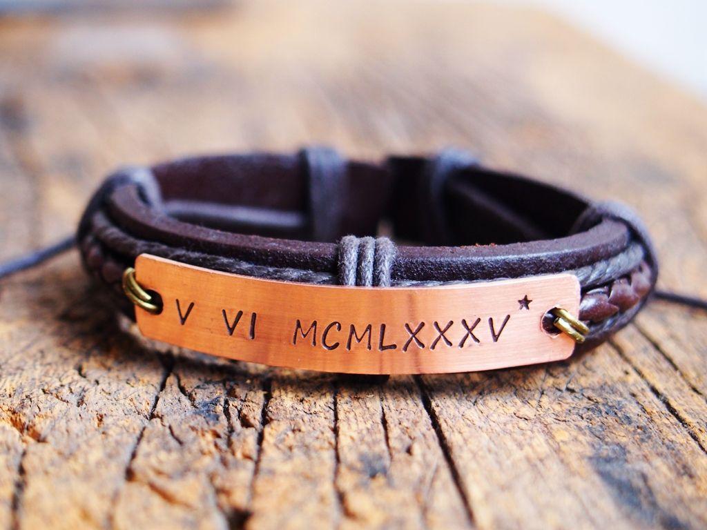Personalized Mens Roman Numeral Bracelet Roman Numeral