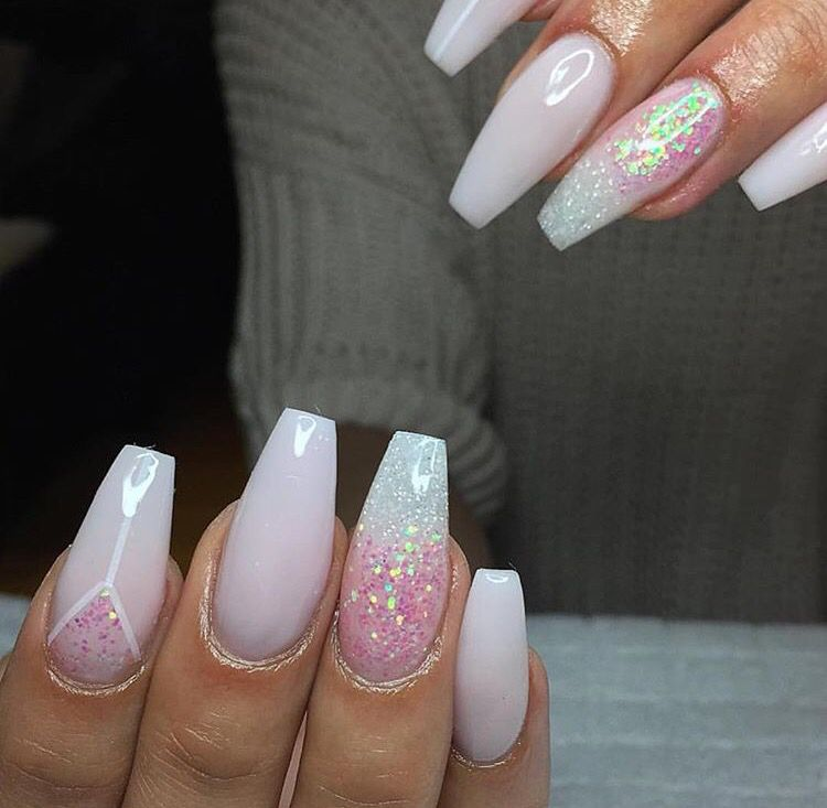 Coffin Acrylic Nails Natural Or Cotton Candy