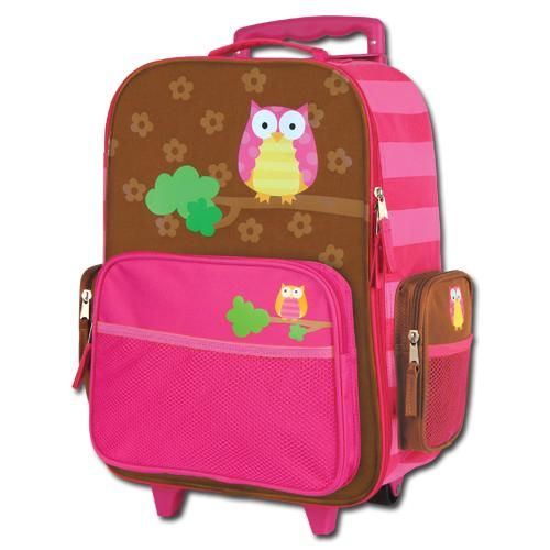 Pink and Brown Owl Suitcase - Rolling Luggage for Girls and ...