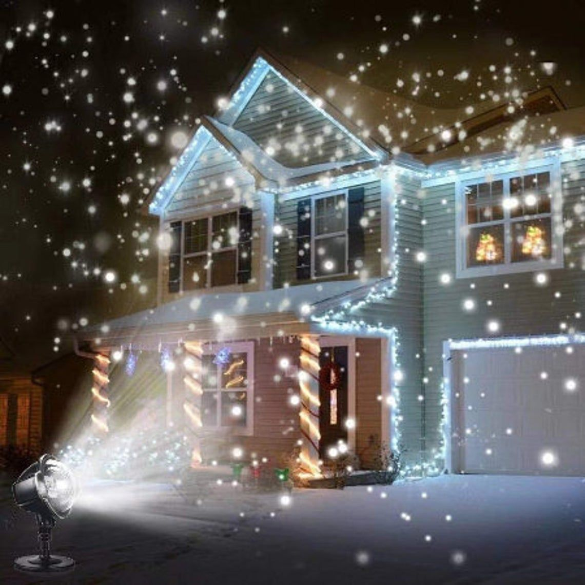 Led Snowfall Projector Lights Outdoor Christmas Snowfall Light Waterproof Remote For Garden House Led Christmas Lights Garden Lamps Light Decorations