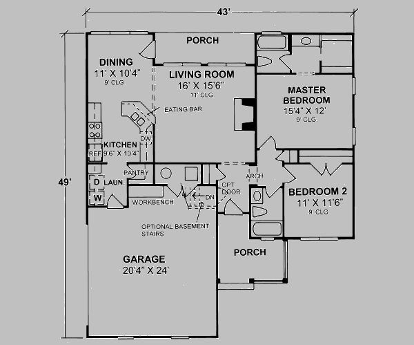 1134 Square Feet 2 Bedrooms 2 Batrooms 2 Parking Space On 1 Levels Floor Plan Number 1 House Plans Cottage Floor Plans Traditional House Plans