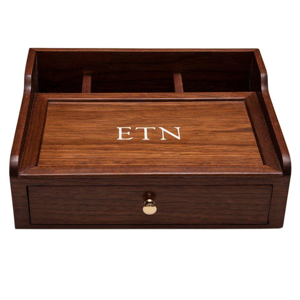 Desk Box Dresser Box Mens Valet Desk Organizer Walnut Wood 140 00 Via Etsy Mens Valet Valet Dresser Valet