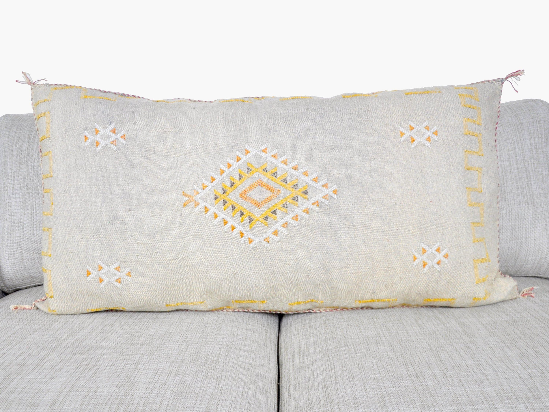 Moroccan Cactus Sabra Silk Pillow White, Handmade & Hand-Woven Pillow, Organic Vegan Sabra pillow, Berber, Moroccan Decor handcrafted pillow