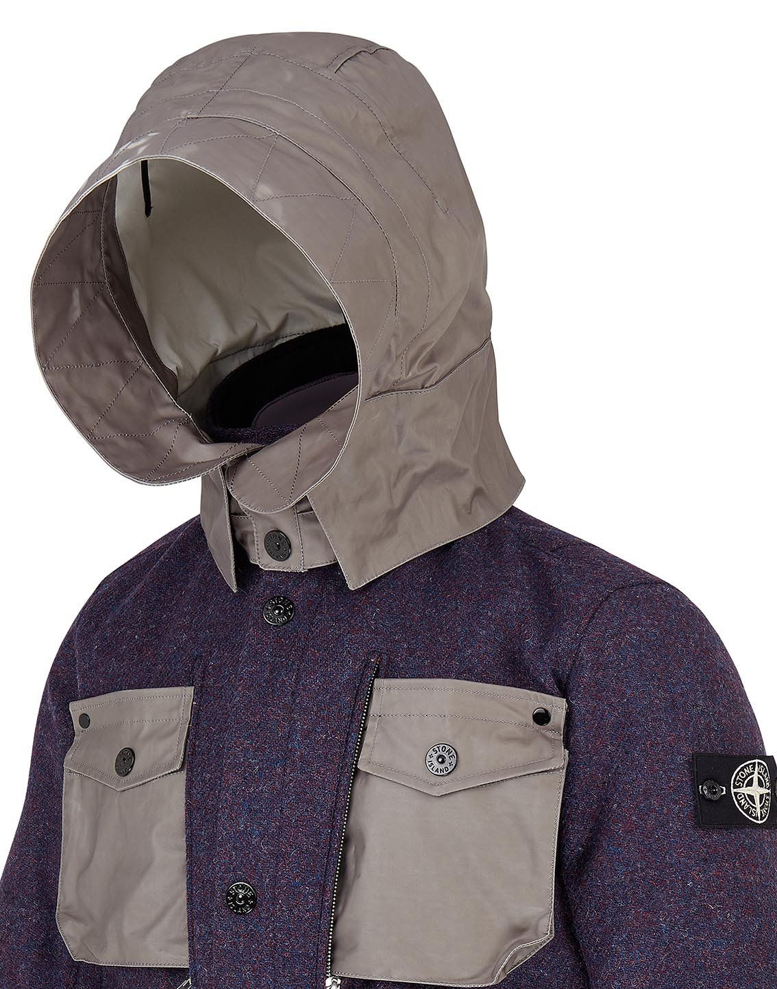competitive price c52f3 8e5bf 4979A STONE ISLAND   HARRIS TWEED POLYMORPHIC ICE Jacket in Purple