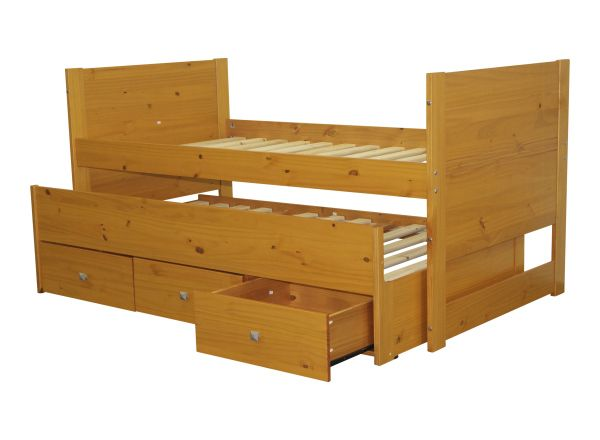 Best All In One Twin Bed With Trundle And 3 Drawers In Honey 640 x 480