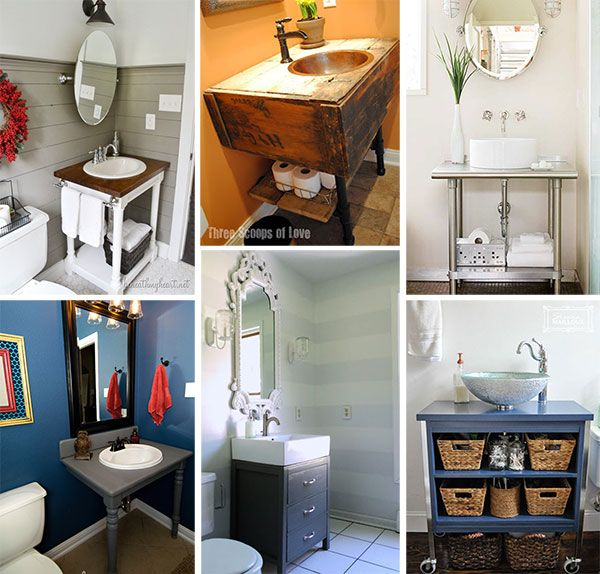 a collage of images of diy vanities for small baths sink ideas