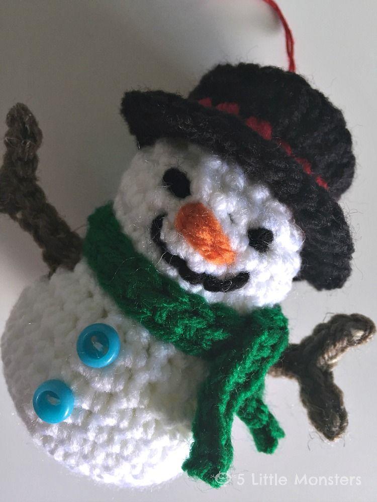 Crocheted Snowman Ornament Christmas Crochet Pinterest Crochet