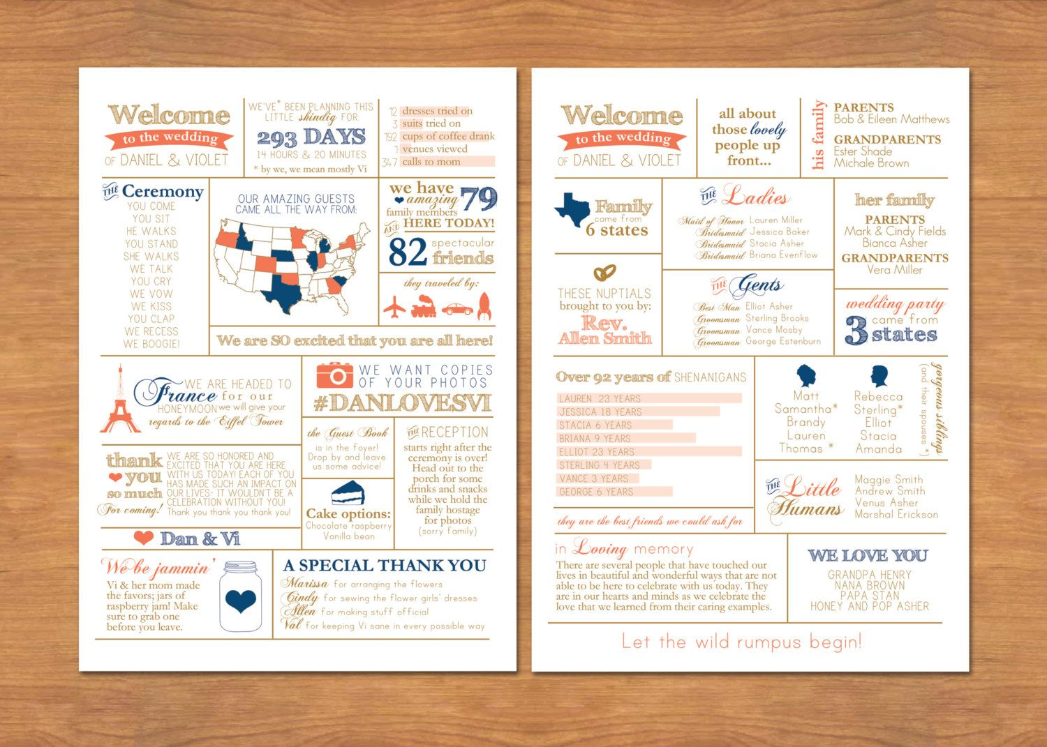 Info graphic wedding program by bisforbrown on etsy wedding items similar to unique wedding program infographic funny personalized bride groom guest wedding fun fact page diy pdf style 1 original design stopboris Image collections