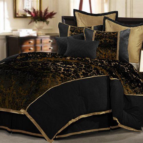 Veratex Musina 8 Piece Comforter Set Black Bed Comforter Sets
