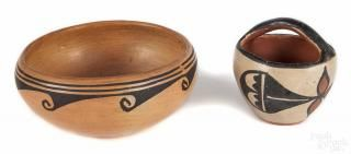 Small Acoma pottery basket, together with a Hopi bowl, 3 1/4'' h., 2 1/2'' w., 5 3/4'' d.