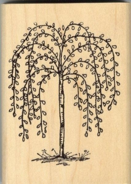 Primitive Willow Tree Wood Mounted Rubber Stamp