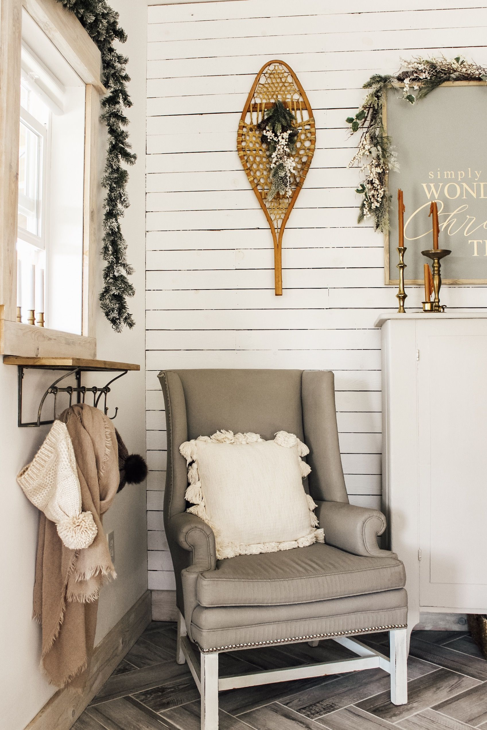 It may be snowing outside but it's sure cozy at Fletcher Creek Cottage!  #cozycottage #christmasdecor #blog #homedecorblog #herringbone #christmasideas #holidaydecor