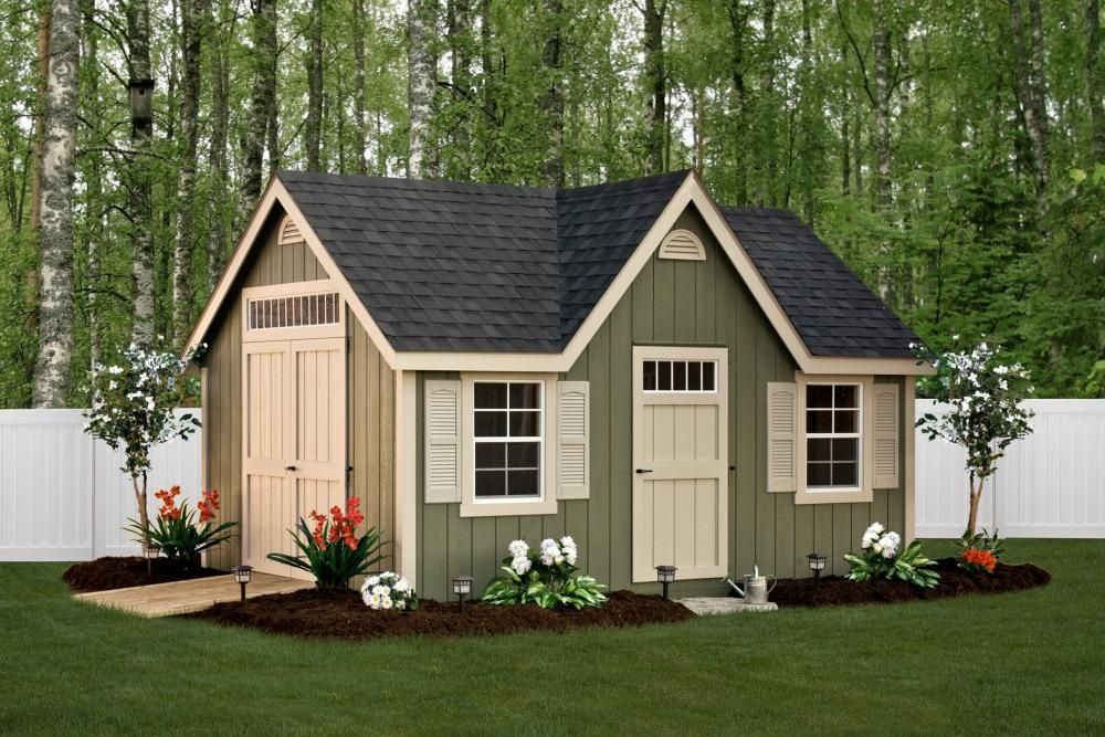 Deluxe Classic 12 X 16 Avocado Green Siding Almond Trim And Doors Black Architectural Shingles Options L Victorian Sheds Backyard Sheds Building A Shed