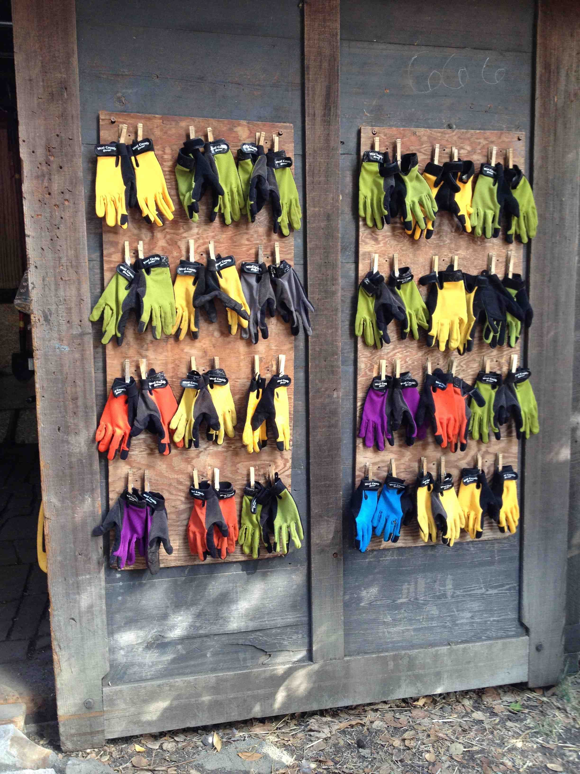 How to organize childrens garden gloves at the Edible Schoolyard