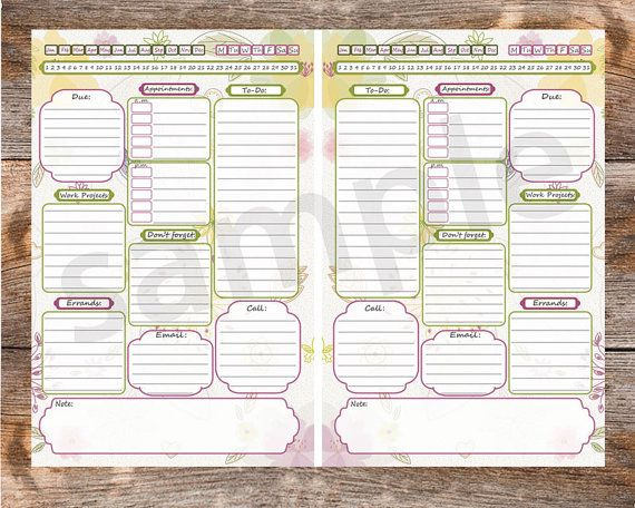 Get organized! This Work Day Organizer in floral design helps you to