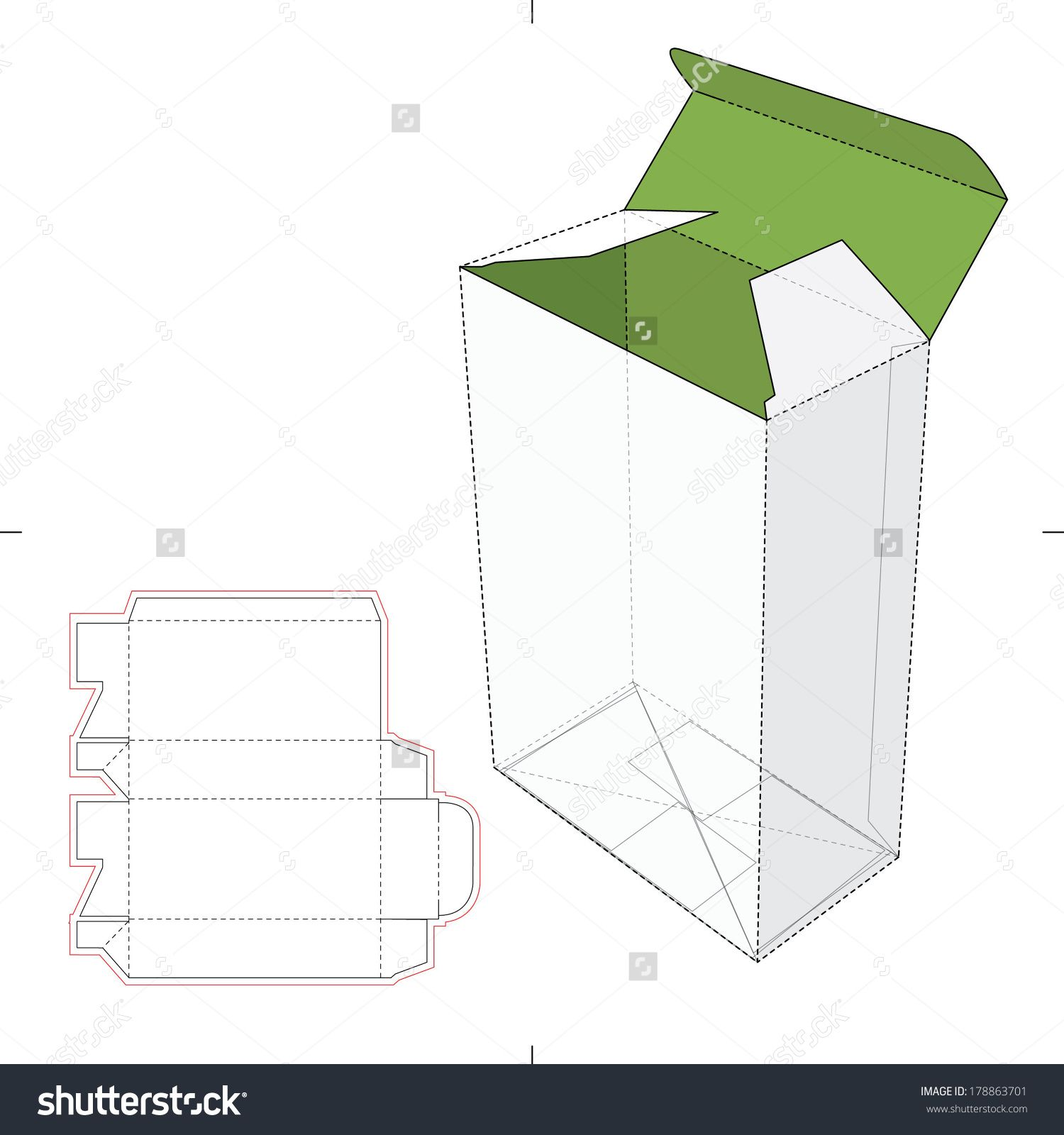 Tall Box With Auto Lock Bottom And Die Cut Pattern Layout Stock