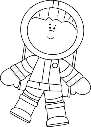 person template preschool - black and white boy astronaut floating crafts and