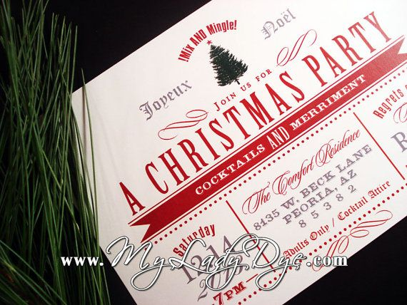Christmas Party Invitation With Christmas Tree and by MyLadyDye, $2.49