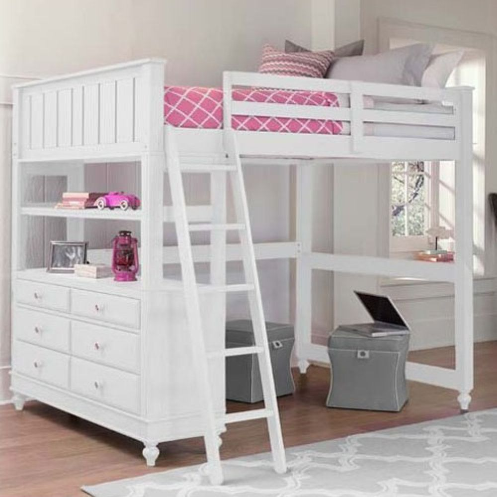 Loft bed with desk full size mattress  NE Kids Lake House Full Loft Bed  With its comfortable cottage feel