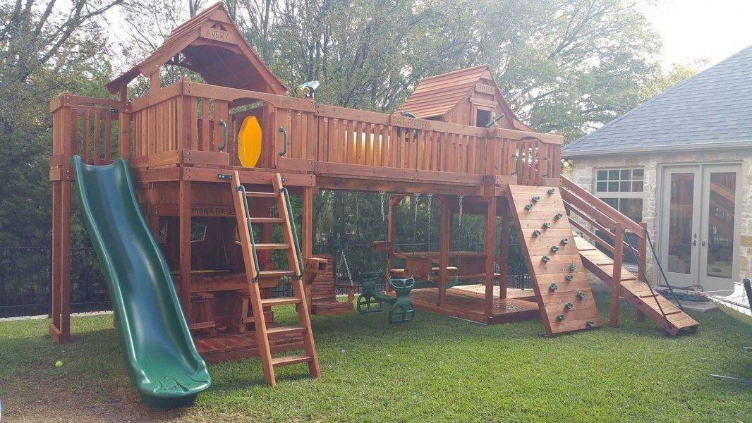 Bridged Wooden Swing Sets Backyard Fun Factory 1000