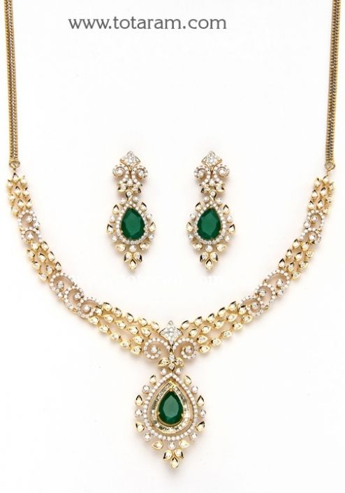 Check out the deal on 18K Gold Diamond Necklace & Drop Earrings Set with Ruby & Onyx at Totaram Jewelers: Buy Indian Gold jewelry & 18K Diamond jewelry