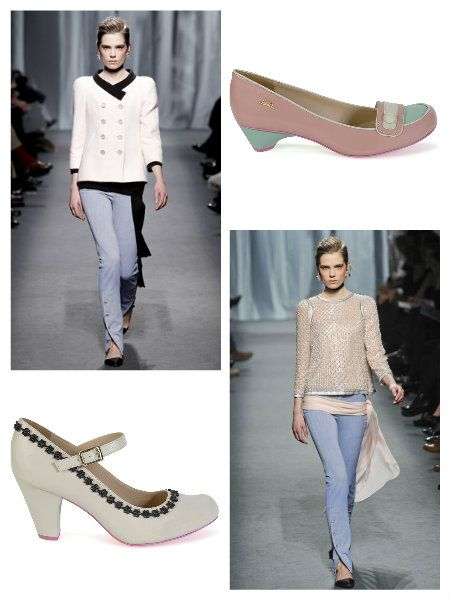 These outfits with #trousers from the #Chanel spring collection 2011 are perfect with the #cristofoli #shoes Pitty pink and aqua or with the white and black details pumps.