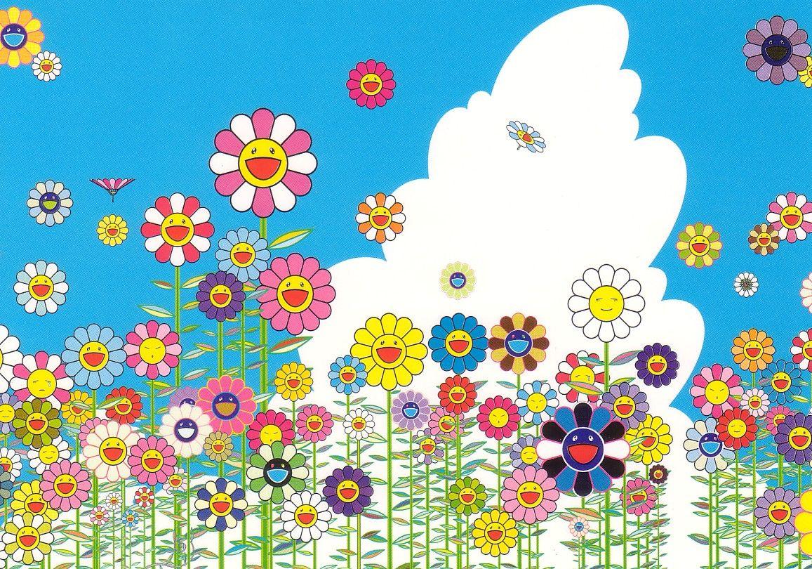 Woohoo This Was My Desktop For Years Takashi Murakami Art Flower Wallpaper Murakami Flower