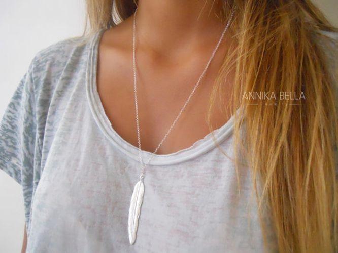 1 unid Moda Mujeres Vintage Largo Collar de La Joyería Plateado Oro Simple Colgante de Plumas Collares colar