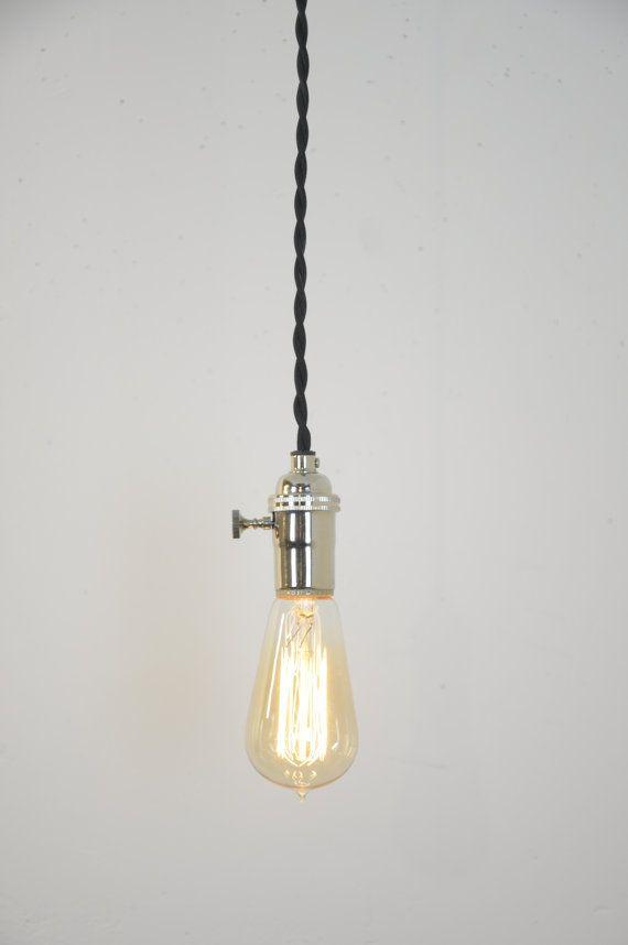 Nickel Pendant Light Chrome Hanging Light Plug In Lamp Modern Lighting Kitchen Lamp Farmhouse Lights Rustic Decor Polished Chrome Pendant Lighting Plug In Hanging Light Modern Kitchen Lighting