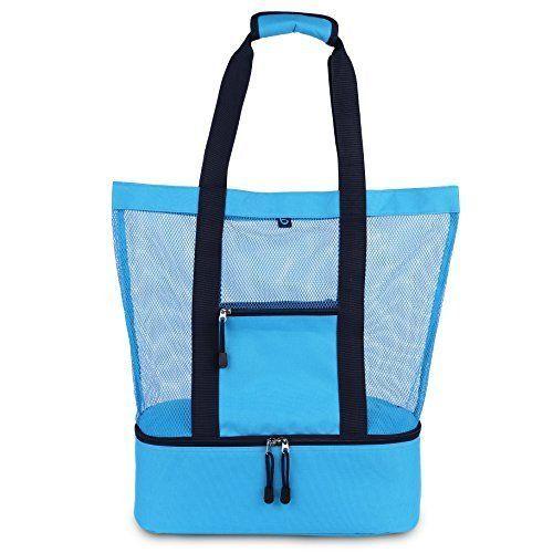 f9893e19df25 Details about Beach Pool Picnic Bag 2 in 1 Mesh Beach Tote Bag ...
