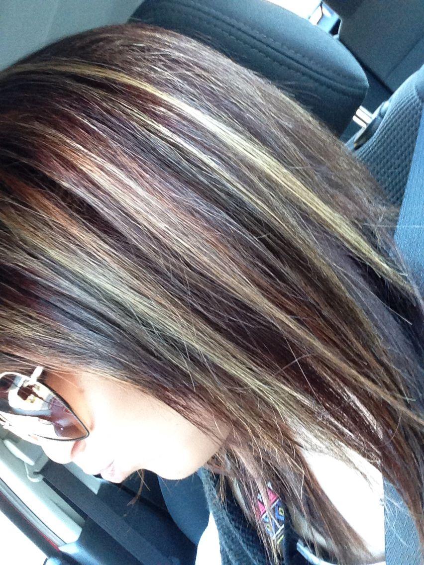 Blonde And Caramel Highlightlowlights On Dark Hair Hair