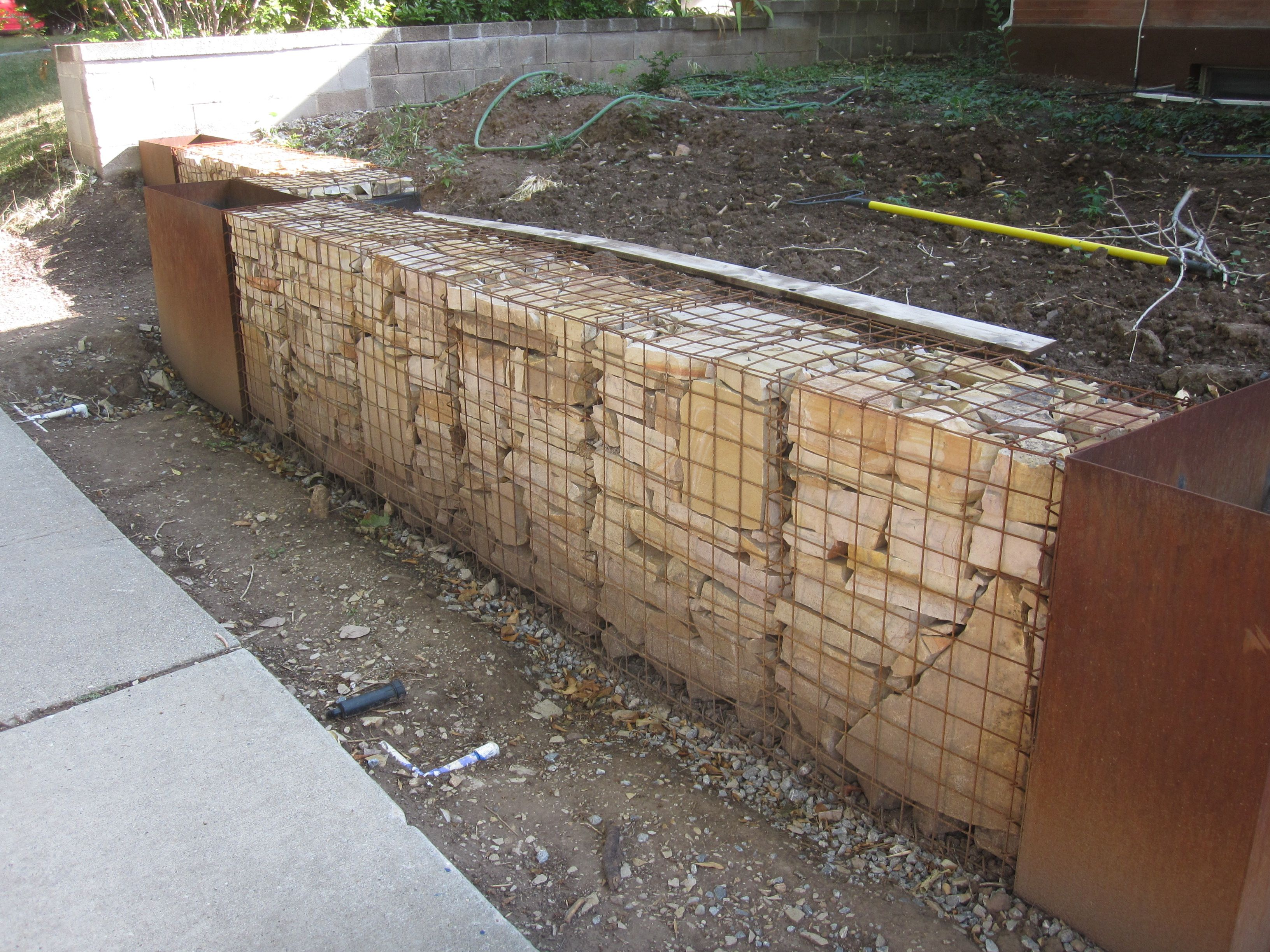 Gabion Wall Using Welded Mesh (not Galvanised) And Filled With Sandstone?  Would Like