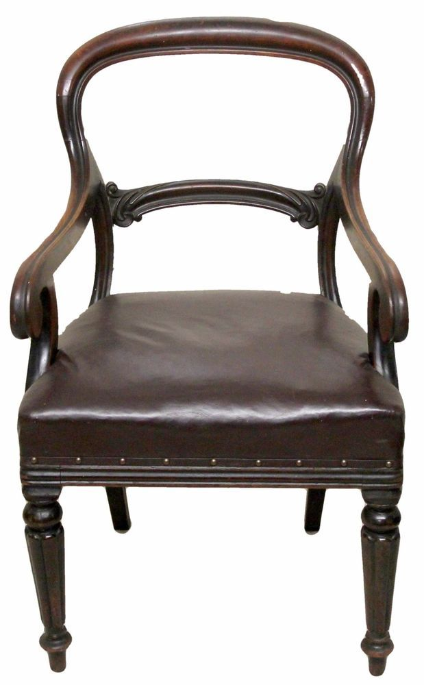 Victorian Antique Mahogany Desk Chair with Leather Upholstered Stuffed Seat  in Antiques, Antique Furniture, Chairs | eBay - Victorian Antique Mahogany Desk Chair With Leather Upholstered