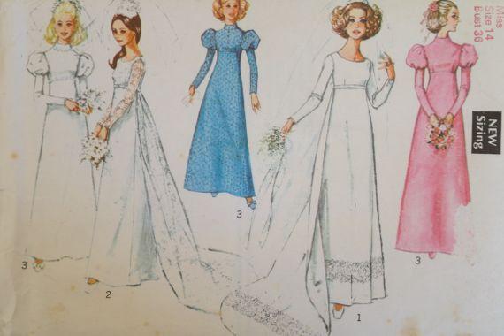 Vintage 1960 Wedding Dress Pattern, UK Size 14 or Bust 36\
