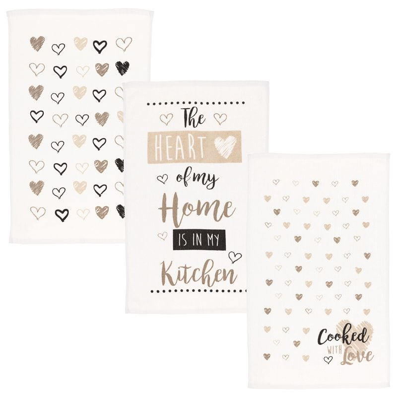Chelsea Tea Towels 3pk Heart Of My Home Is In The Kitchen Tea Towels Credit Card Statement Towels Online