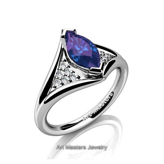 French 14K White Gold 1.0 Carat Marquise Russian by artmasters
