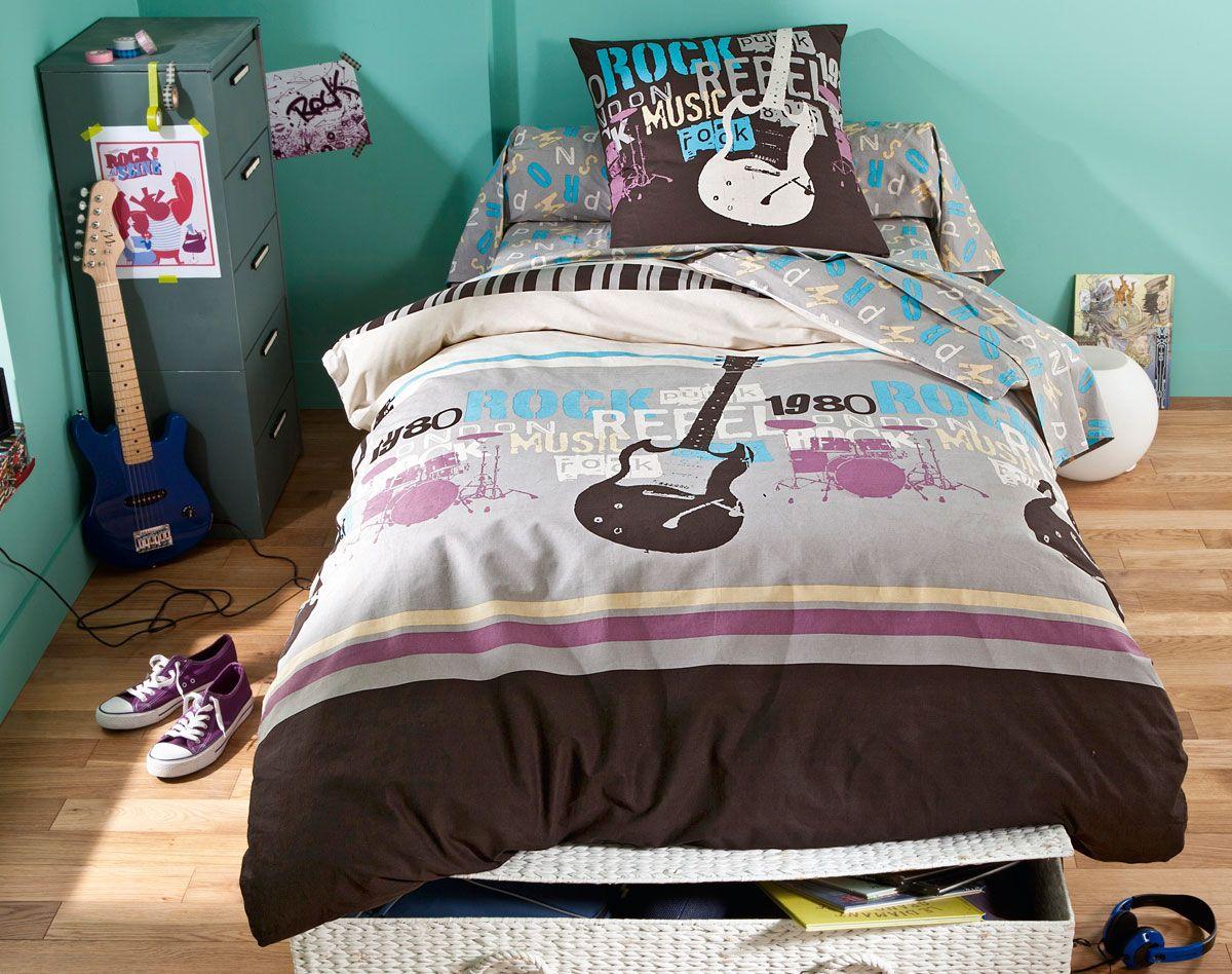 linge de lit guitares rock becquet chambre pinterest linge de lit lit et deco chambre fille. Black Bedroom Furniture Sets. Home Design Ideas