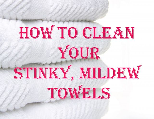 Wash your towels in hot water with a cup of vinegar, then run again in hot water with a half-cup of baking soda. That will strip your towels from all of that residue & mildew smell & will actually leave them feeling fluffy & smelling fresh.  Going to do this with the washcloths and spill rags.