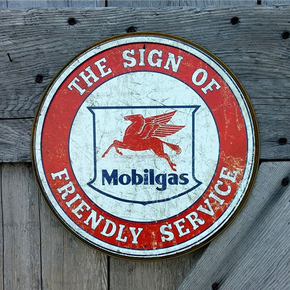 Metal Decorative Signs Magnificent Mobilgas Mobil Pegasus Sign Of Friendly Service Embossed Tin Metal Inspiration Design