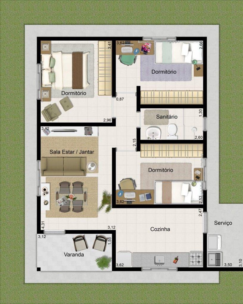 planos de casas modernas para 3 personas