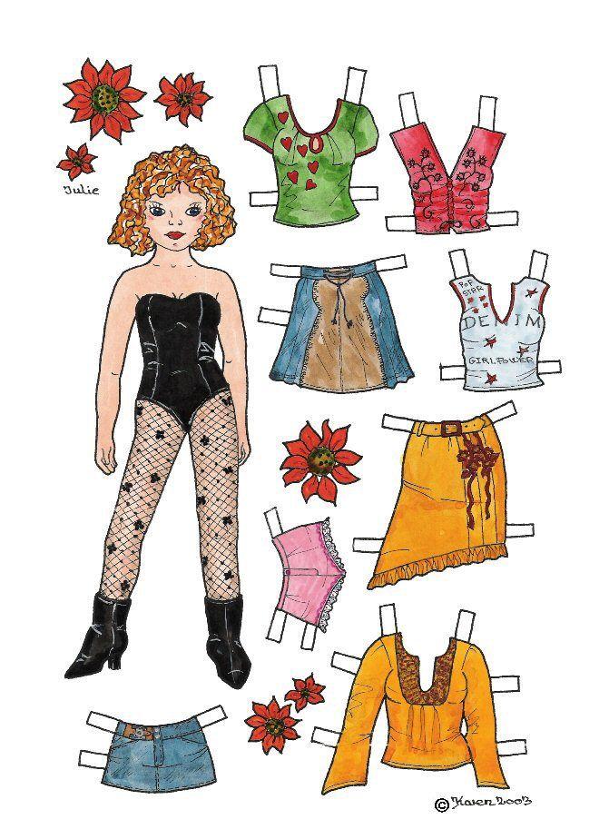 Karen`s Paper Dolls: Julie 1-4 Paper Doll in Colours. Påklædningsdukke Julie 1-4 i farver.