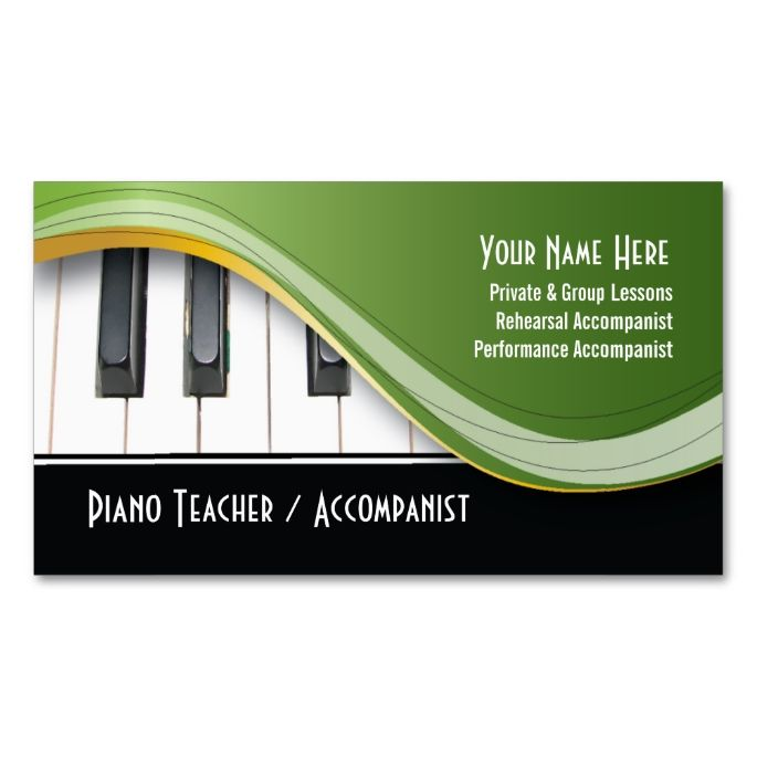 Classy Piano Teacher Business Card Zazzle Com Teacher Business Cards Music Business Cards Piano Teacher